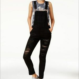 NWT Dollhouse Distressed black overalls